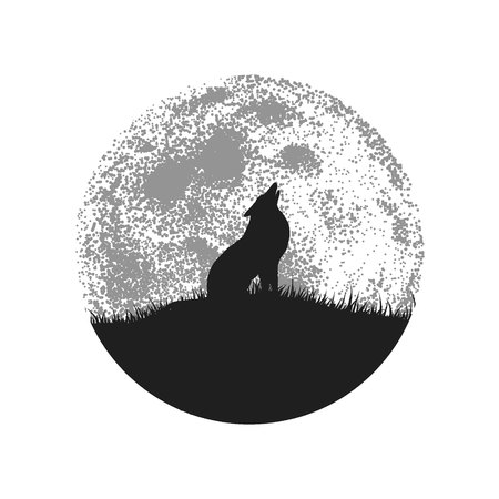 Silhouette of howling wolf on full moon background.Vector symbol or logo