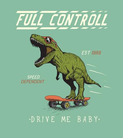 Vrolijke tyrannosaur rijdt op skateboard. Dinosaurus skateboarder gekleed in zonnebril. Afdrukken vintage ontwerp voor t-shirts