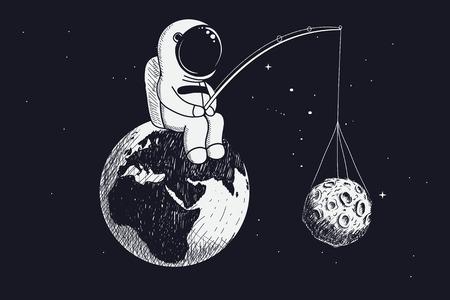 Un petit astronaute est assis sur la Terre et garde la Lune