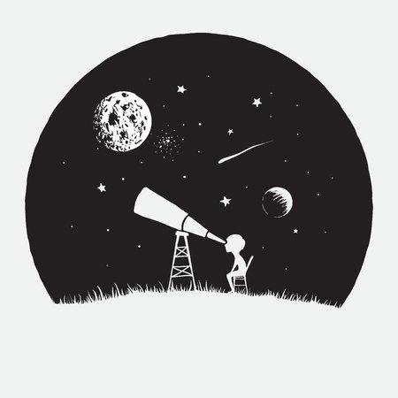 Niño mira a través de un telescopio al espacio Ilustración de vector