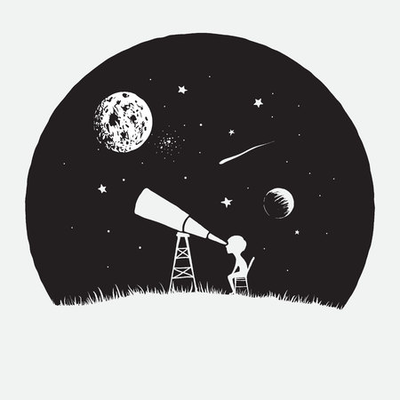 Little boy looks to through a telescope to space