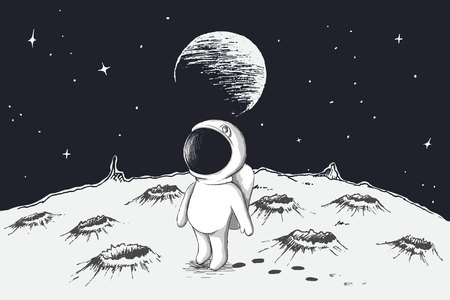 Cute astronaut walking on Moon