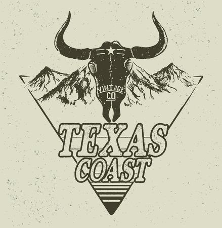 Western logo with bull head