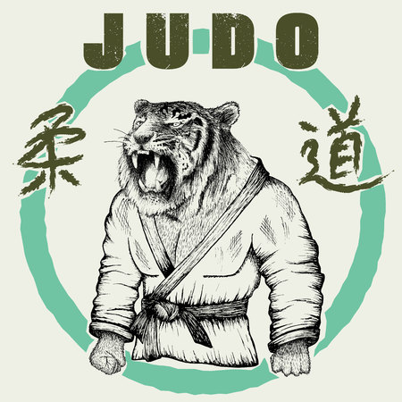 grappling: Judoka tiger dressed in kimono