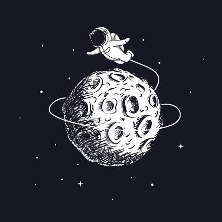 Astronaut flying around the Moon