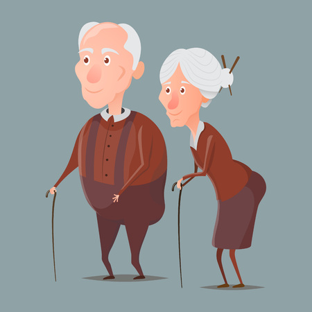 granny and grandad: grandmother and grandfather walking with sticks