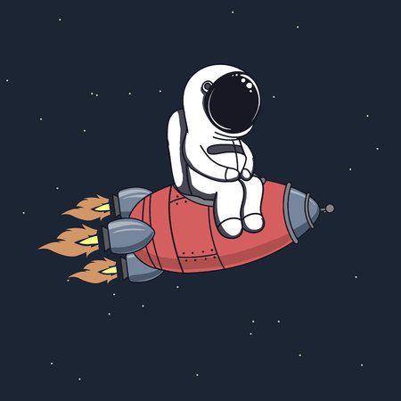Cute astronaut sits on rocket and flying through space .Childish vector illustration.Prints design for kids wear or t-shirts.