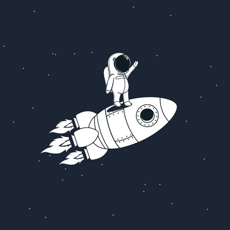 Sweet astronaut stays on rocket and flying through space Childish vector illustration Illustration