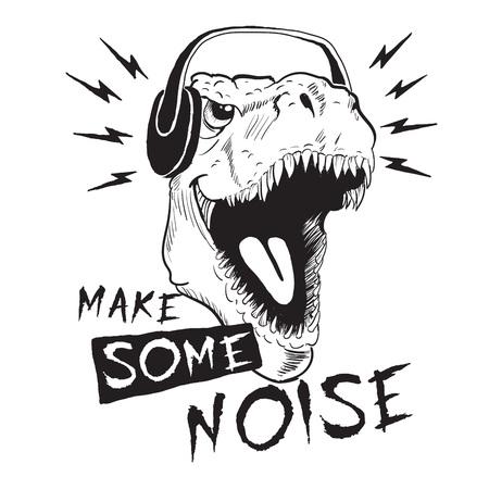 Dinosaurio tiranosaurio en auriculares