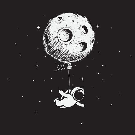 Astronauta leci z księżycem