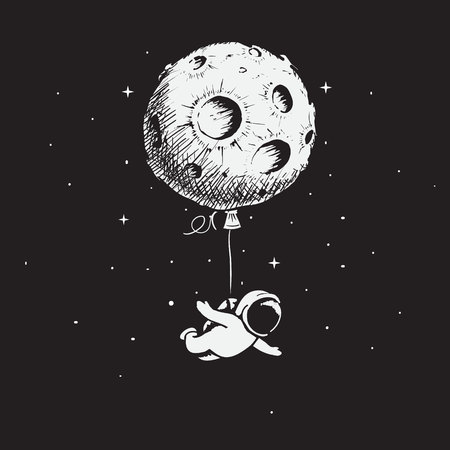 Astronaut flies with a moon Illustration