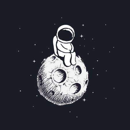 Cute little astronaut sits on Moon and looking to us.Cosmic character.Cartoon childish vector illustration