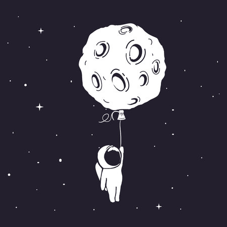 Astronaut flies and keeps for moon Çizim