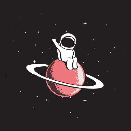 Baby astronaut sits on Saturn and welcomes us.Cosmic character.Space theme vector illustration.Spaceman explore a new planet Ilustração