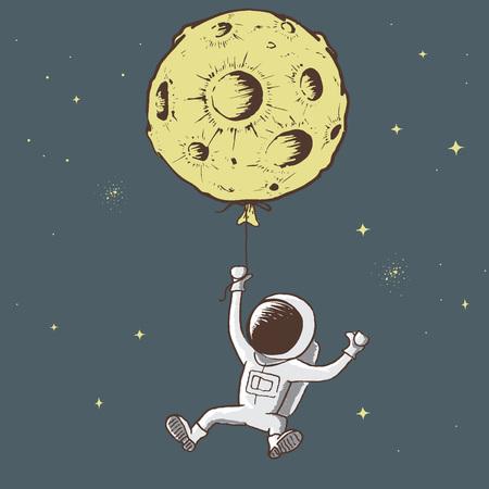L'astronauta dolce tiene per la luna Progettazione delle stampe Illustrazione infantile di vettore