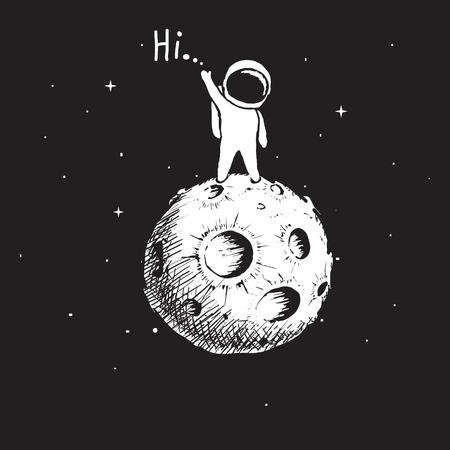 こんにちは、ベクトル図を言っている惑星の上に立っての宇宙飛行士。