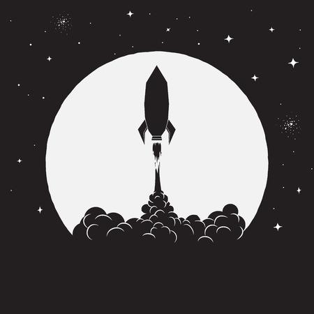 décollage de la fusée sur le fond de la Lune à l'espace. Illustration vectorielle