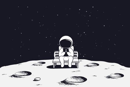 宇宙飛行士はベンチに座り、携帯電話を見ます。月の宇宙飛行士ベクターイラスト