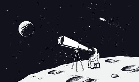 Spaceman looks through the telescope. Illustration