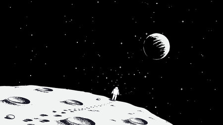 Spaceman walking on moon.