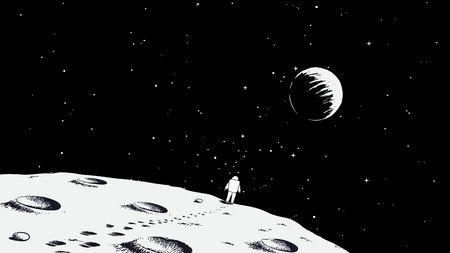 Spaceman walking on moon.