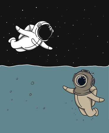 Friendship of marine diver and astronaut concept vector illustration