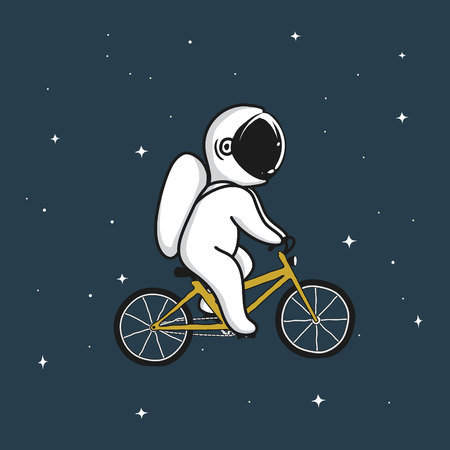 Funny astronaut rides on bicycle in space.Cartoon style.Childish vector illustration