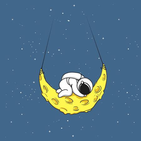 Cute astronaut sleeps on crescent moon.Tired spaceman.Childish vector illustration