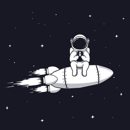 El astronauta divertido se sienta en el cohete y juega con el teléfono móvil, diseño del vector de las impresiones del teléfono inteligente. Foto de archivo - 93391670
