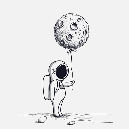 Funny astronaut keeps abstract balloon like a moon.Hand drawn.Space childish vector illustration.