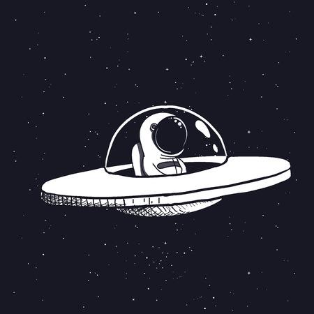 Astronaut in einer fliegenden Untertasse. Handgezeichnete Stil. Weltraumwissenschaftliche Vektor-Illustration.