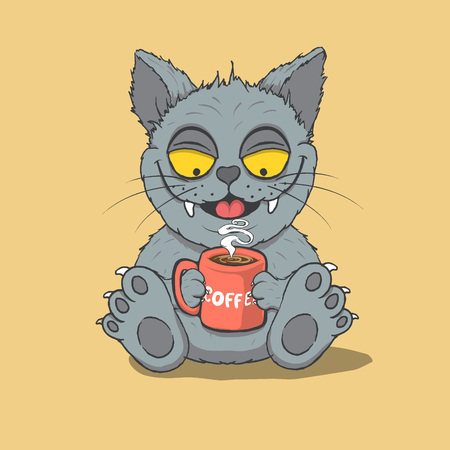 Happy cat drinks a coffee.Animal characters.Cartoon vector illustration
