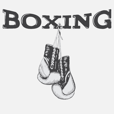 Graphic label with boxing gloves. Sport design for t-shirts and other prints Stock Illustratie