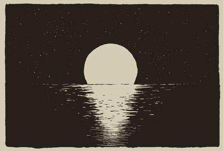 Sunset at the night sea on coast.Vector illustration Illustration