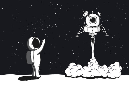 Lunar module launch, landing on Moon. Astronaut welcomes their space vector illustration Vettoriali