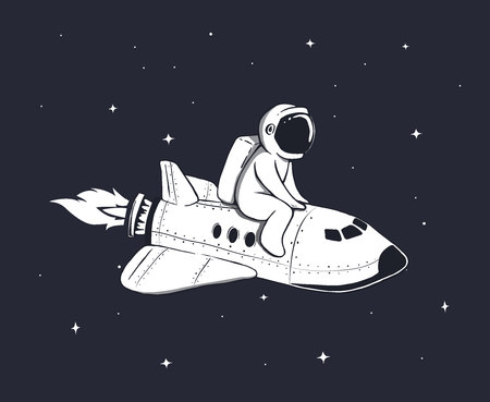 Cute astronaut flies on space shuttle in outer space.Childish vector illustration. Illustration