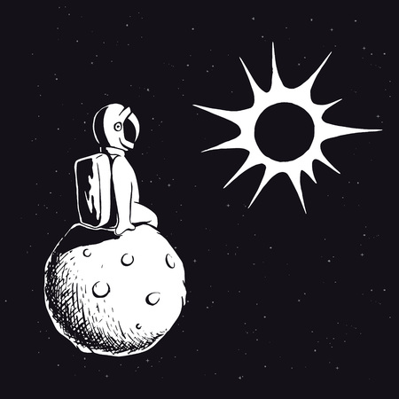 Astronaut on planet watches the sun.Spaceman explores the universe.Vector illustration
