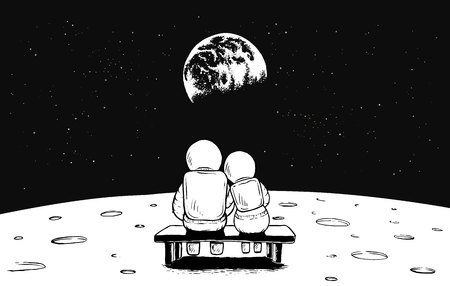 Astronaut girl and boy look to the Earth from the Moon.Space vector illustration