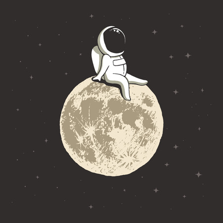 Funny astronaut is basking in the sun on the moon. Vector illustration.