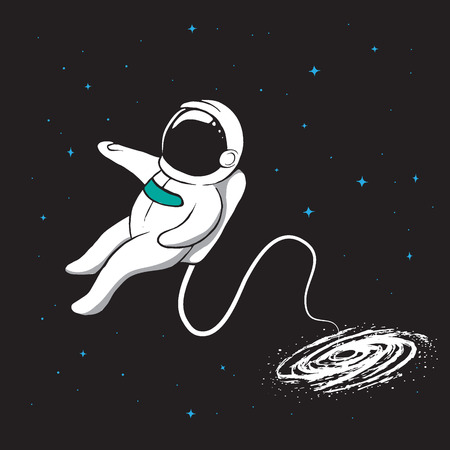 Galaxy pulls the spaceman inwards. Space vector illustration