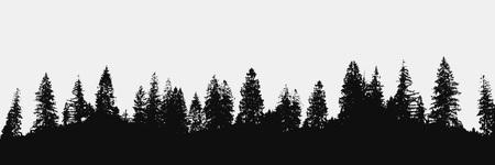 Waldsilhouette auf weißem Hintergrund. Blick auf das Panorama realistischer Bäume. Vektornaturdesign Vektorgrafik