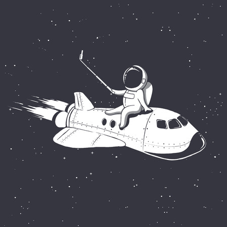 astronaut photographs himself on space shuttle.Vector illustration