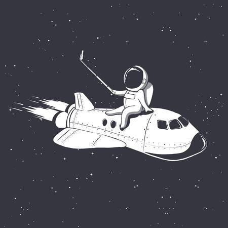 astronaut photographs himself on space shuttle.Vector illustration