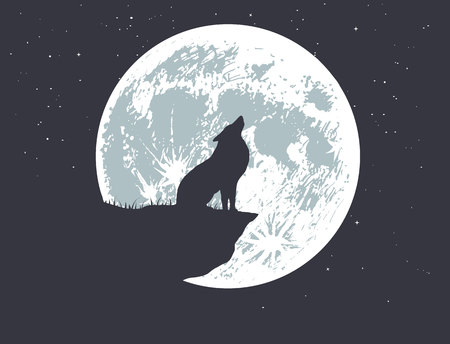 wolf howling to full moon on the precipice .Vector illustration Foto de archivo - 111923298