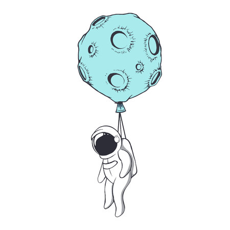 the astronaut is tied to the moon like to a balloon.Space character