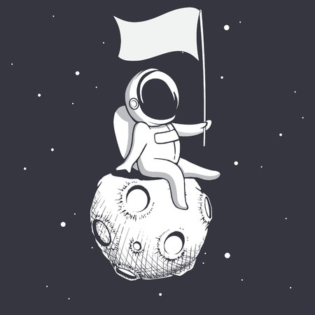 Astronaut sitting on Moon and holds a flag.Space vector illustration