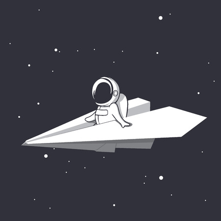 an astronaut flies on a paper airplane through universe.Space design.Vector illustration Vector Illustration