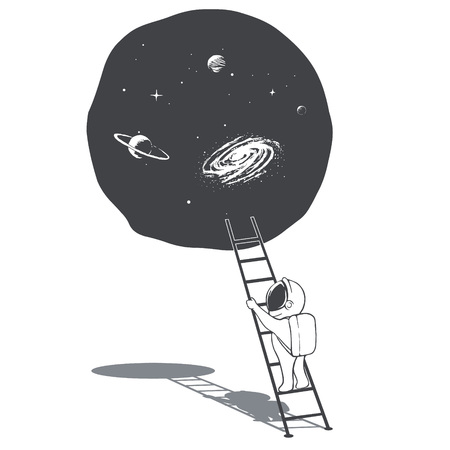 an astronaut climbs the ladder into space portal.Science fiction.Vector illustration  イラスト・ベクター素材