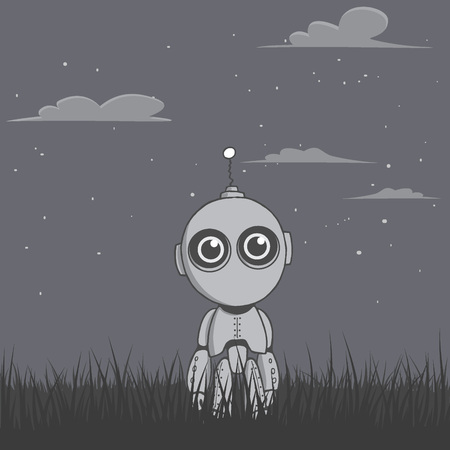 Cute robot stands in the night field in the grass at night. Character design. Vector illustration
