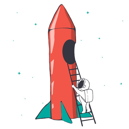astronaut climbs the ladder into the rocket for space travel.Prints design.Vector illustration  イラスト・ベクター素材